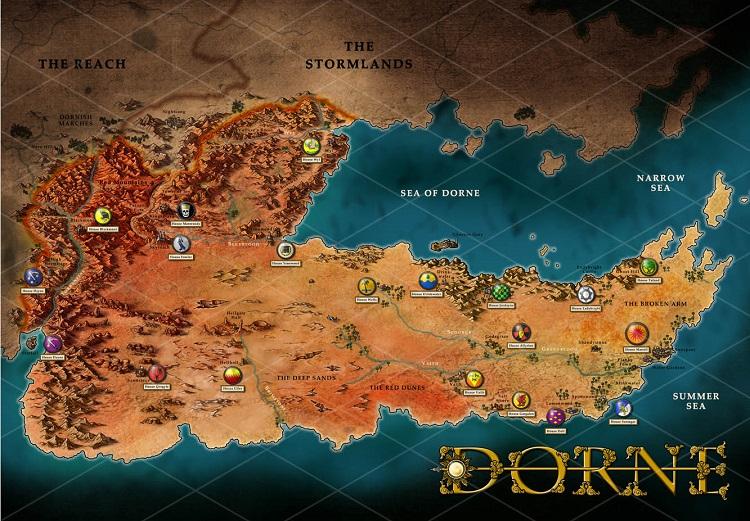 DORNE MAP ONLY PREVIEW - یازده دلیل برای خواندن کتاب های نغمه با وجود تماشای سریال بازی تاج و تخت
